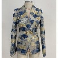 Women Slim Blazers High Quality Gold string Jacquard blazers and jackets Fashion Breasted chaqueta mujer Elegant OL blazer