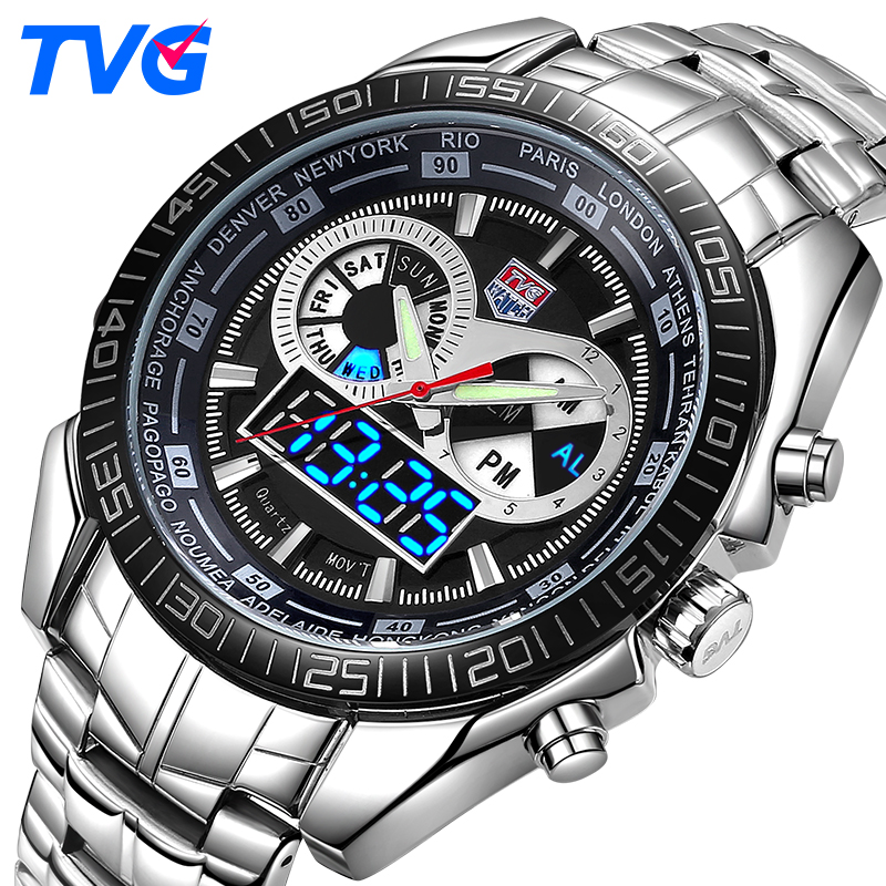 TVG Luxury Brand Watch Men Waterproof Sport Digital LED Watch Military Quartz WristWatches Clock Men Relogio