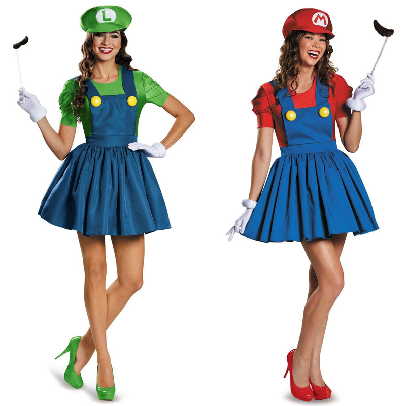 Halloween Adult Ladies Super Mario Luigi Bros Costume Video Games 80s Plumber Work Women Fancy Dress