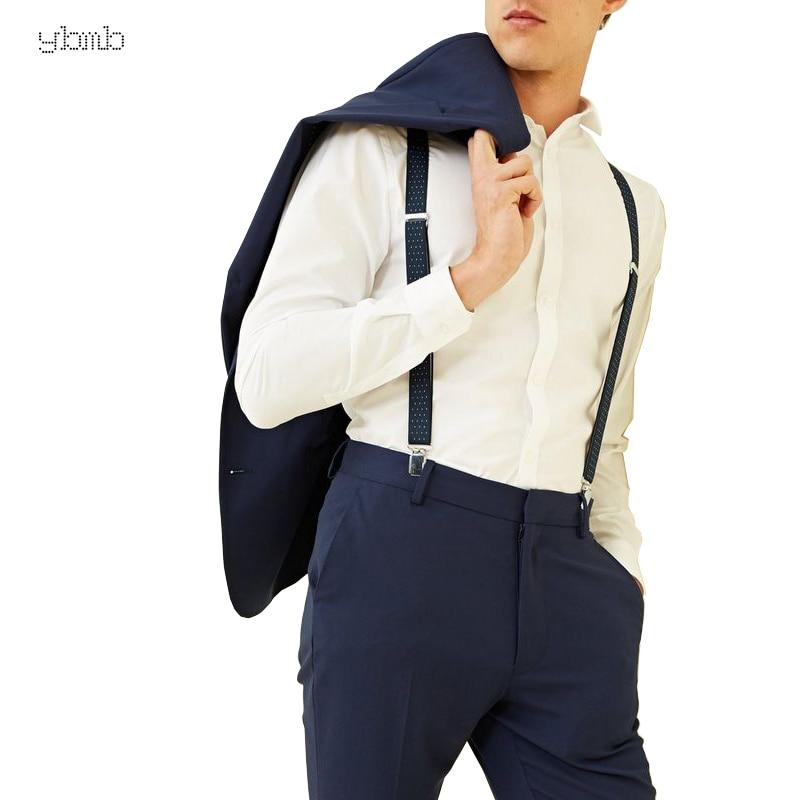 YBMB Fashion Shirt BraHigh Quality 25mm4Clips Mens Dot Suspenders X-Shape Adjustable Durable Braces Elastic Belts Straps Braces