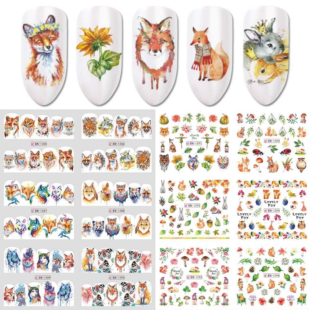 12 Ontwerpen Vos Bloemen Schilderen Nail Water Decal Slider Animal World Nail Art Decoraties Watermerk Polish Wraps LABN1285-1296
