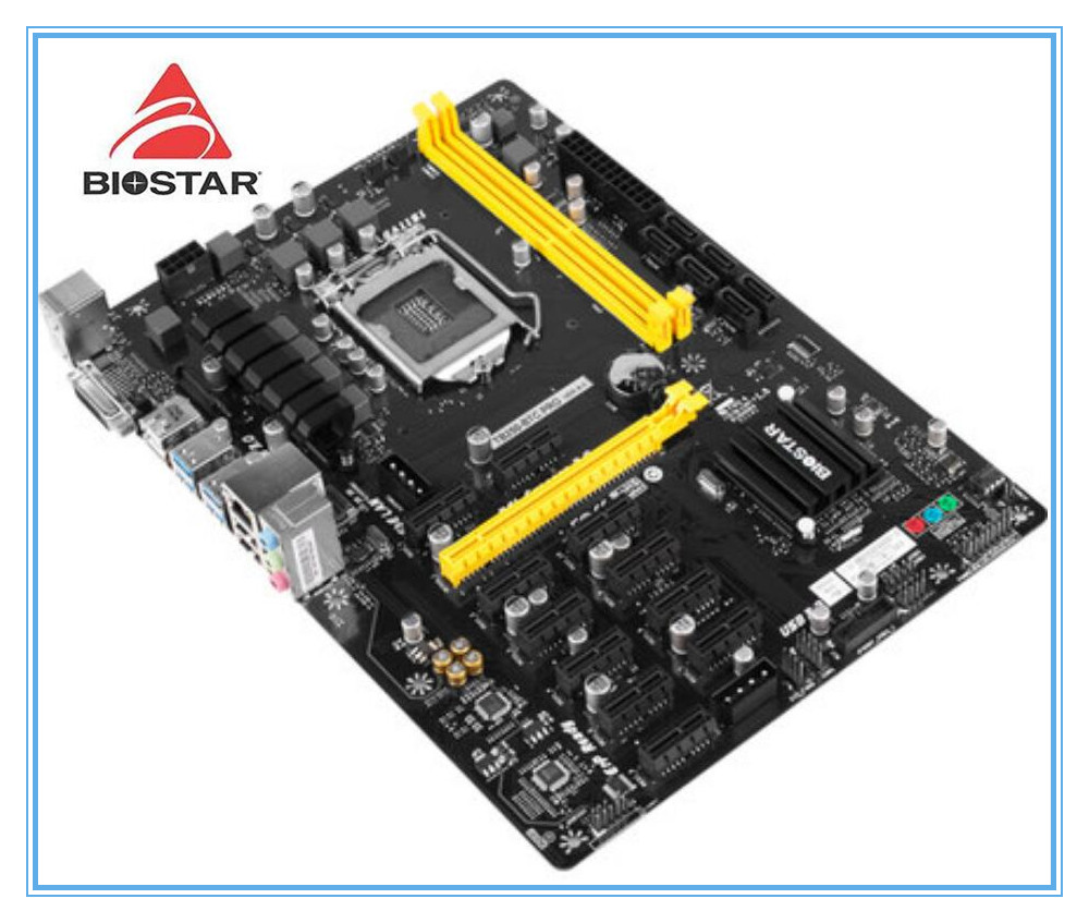 New BIOSTAR Motherboar DDR4 TB250-BTC PRO Mining 12PCIE Support 12 Video Card BTC ETH ZEC Mining TB250 BTC G3900 USB 3.0 1151