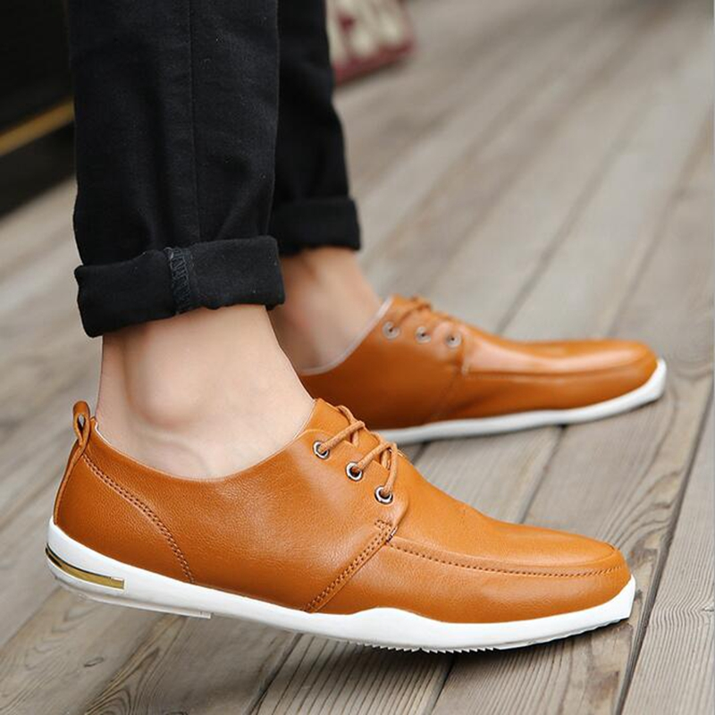 New Men Shoes Casual Spring Flats Shoes Fashion Men Soft Loafers Black Brand Leather Man Shoes Men Zapatos Hombre P86