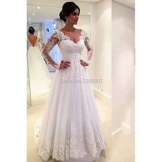 Long Sleeves A Line Wedding Dress Sexy Backless Robe De Mariage Bridal Dresses Custom Made Wedding Gowns