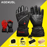 AGEKUSL Electro thermal Sheepskin Leather Cycling Gloves Warm Winter Men Women Sports MTB Bike Bicycle Motorcycle Skiing Gloves