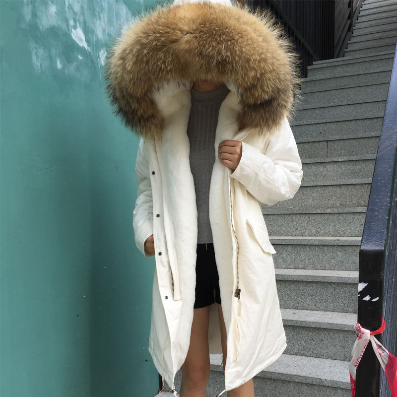 Pure White Long Down Fake Fur Lining Natural Raccoon Fur Mr Mrs Fur Winter Warm Season Holiday Wear