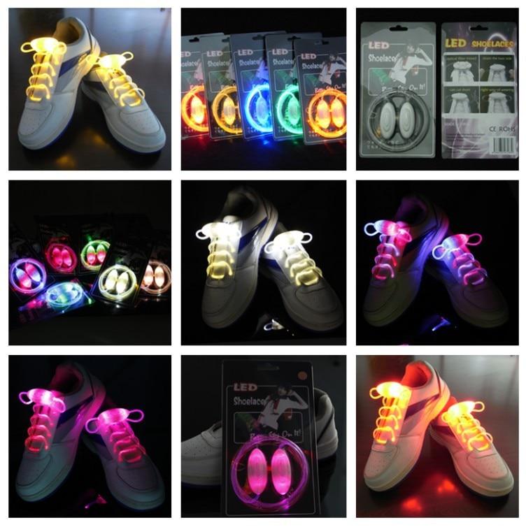 Led Sport Shoe Laces Glow Shoe Strings Round Flash Light Shoelaces Luminous No Tie Lazy Shoe
