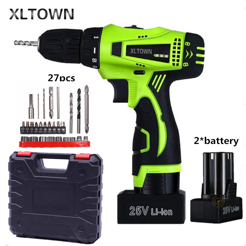Xltown 25v two-speed rechargeable lithium battery electric screwdriver with 2 battery Household electric screwdriver Drill bits xltown 25v 2000ma impact drill with bits