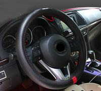 1pc for Mazda 3 Axela cx 5 Steering wheel cover top layer Genuine leather Carbon fiber pattern