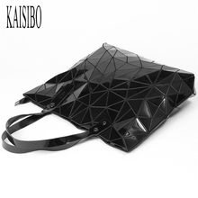 KAISIBO 2018 New Woman Handbag Geometric Lattice Tote Glossy Handbags PU Leather Shoulder Bag For Women Folded Bags sac a main