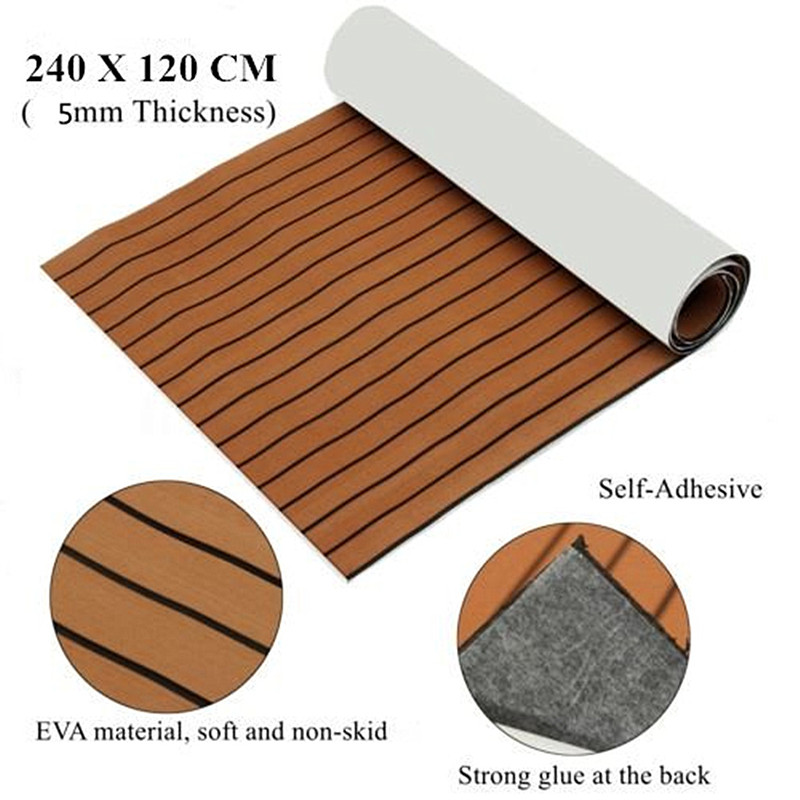 Self Adhesive EVA Foam Faux Teak Sheet Boat Yacht Synthetic Teak Decking Floor Mat Light Brown 1200mmx2400mm 5mm