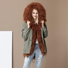 Новая Высокая мода Женская Роскошная овечья кожа ягненка парка миди Монголия овечий мех пальто с капюшоном верхняя одежда зимняя куртка