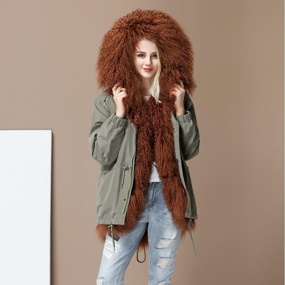 Nuove Donne Alta Moda di Lusso in pelle di agnello pelliccia di agnello parka MIDI mongolia pelliccia delle pecore del Cappotto Con Cappuccio Outwear Giacca Invernale