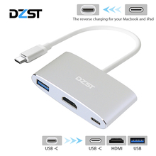 USB Type C to HDMI Digital Multiport Adapter USB C to Type C 3.1/ USB 3.0/HDMI 3 Port Hub for Phone Macbook Chrome Book HP DELL