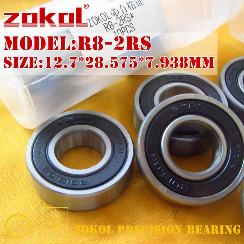 ZOKOL R8 2RS ZZ bearing R8-2RS R8-ZZ Miniature  Deep Groove ball bearing 12.7*28.575*7.938mm