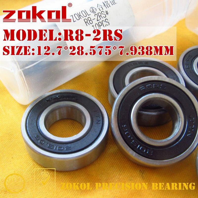 ZOKOL R8 2RS ZZ Bearing R8-2RS R8-ZZ Miniature  Deep Groove Ball Bearing 12.7*28.575*7.938mm