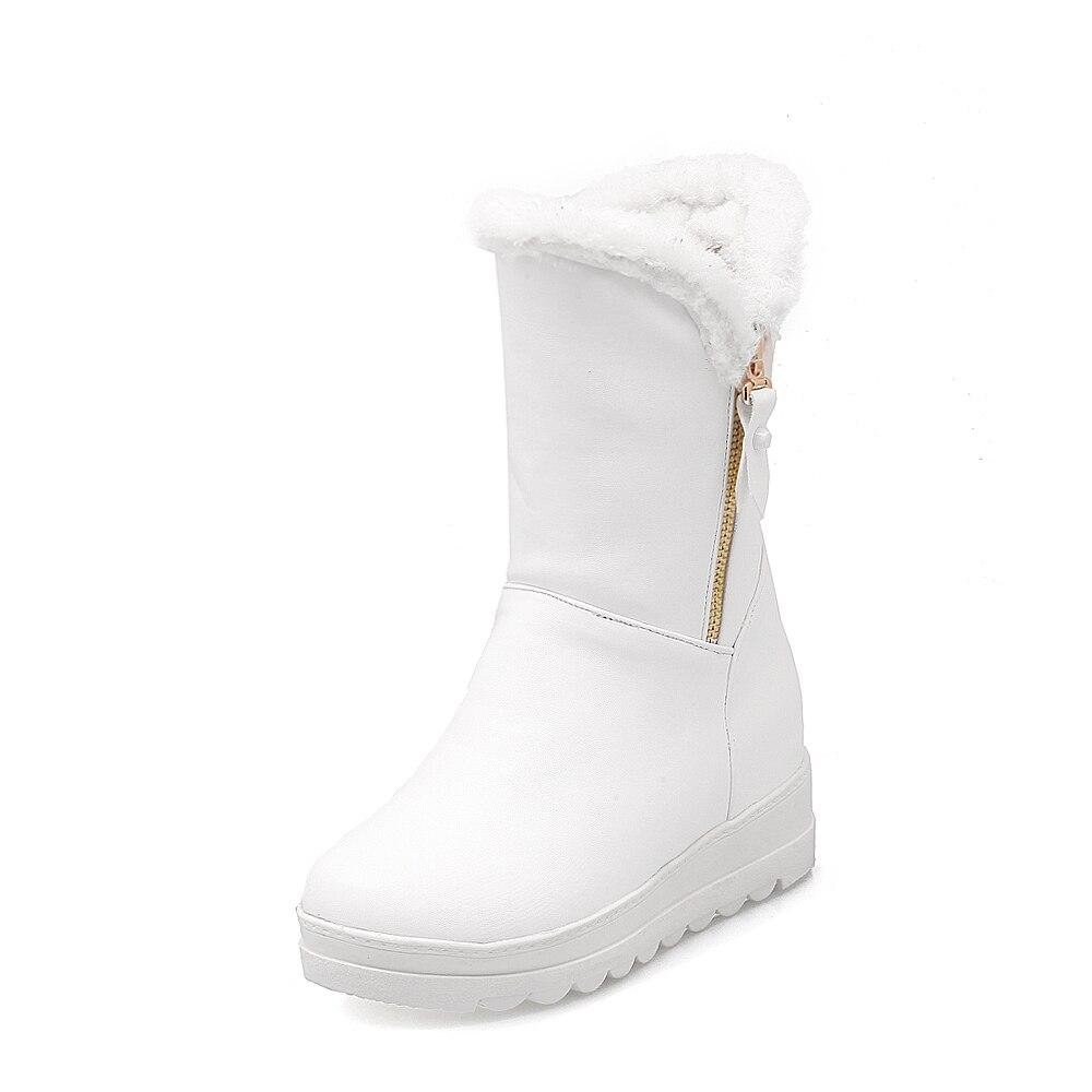 De Neige rose mollet Garder Plate forme Femmes Bottes Chaude Fringe Vente Salu Chaud Chaussures D'hiver Mi 2018 Au Noir blanc Mode nHXq4OI