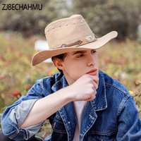 ZJBECHAHMU Fashion New Solid Leather Vintage Fedoras For men Women Summer Caps Outdoor holiday beach hat jazz hat Snapback Hat