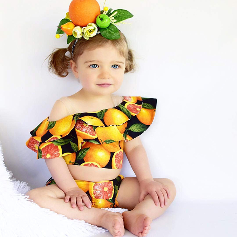 2PCS Summer Cute Newborn Infant Baby Girls Outfit Clothes Romper Jumpsuit Bodysuit+Fruit Printed Pants Set Clothes ship from USA