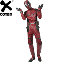 XCOSER Hot Sale Deadpool Superhero Wade Wilson Cosplay Costume High Quality Deluxe PU Outfit Men Cool Movie Cosplay Costumes