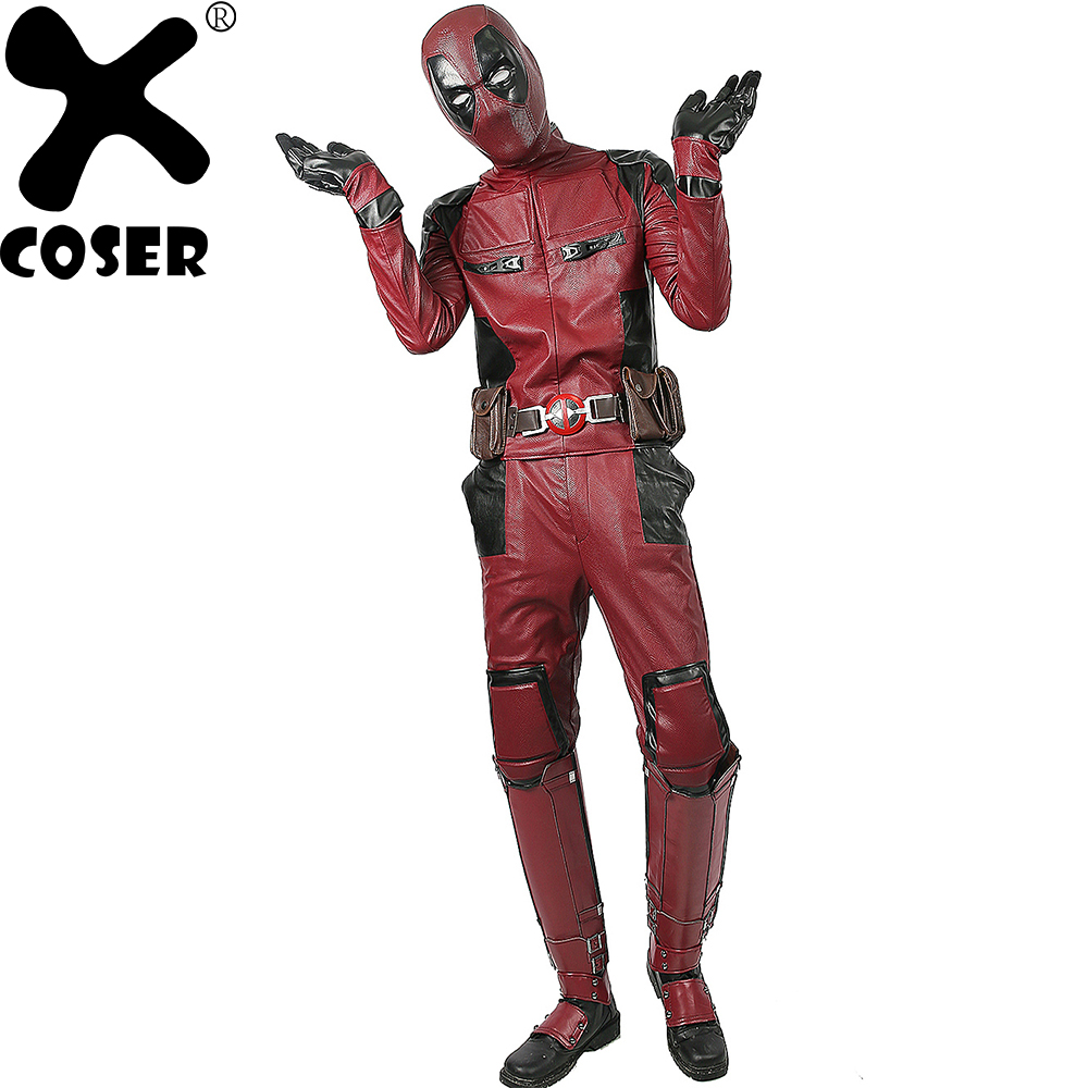 XCOSER Vente Chaude Deadpool Superhero Wade Wilson Cosplay Costume de Haute Qualité Deluxe PU Outfit Hommes Cool Film Cosplay Costumes