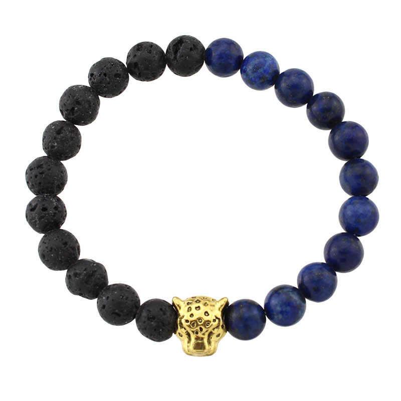 Leopard głowy urok mężczyzn Lava Healing Balance koraliki Reiki budda kamień naturalny joga bransoletki i Bangles dla kobiet