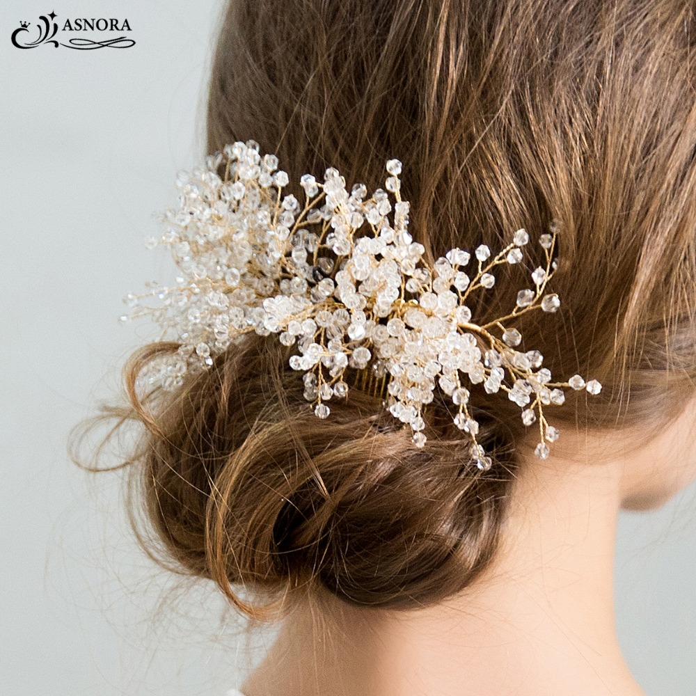 ASNORA Combs Hair-Accessories Crystals Bridal-Hair Brides Wedding Gold Luxury with Shiny