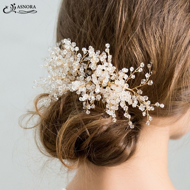 5d74310f296e2 ASNORA Luxury Gold Bridal Hair Combs with Shiny Crystals Beads Hairpins for Brides  Hair Jewelry Wedding Hair Accessories
