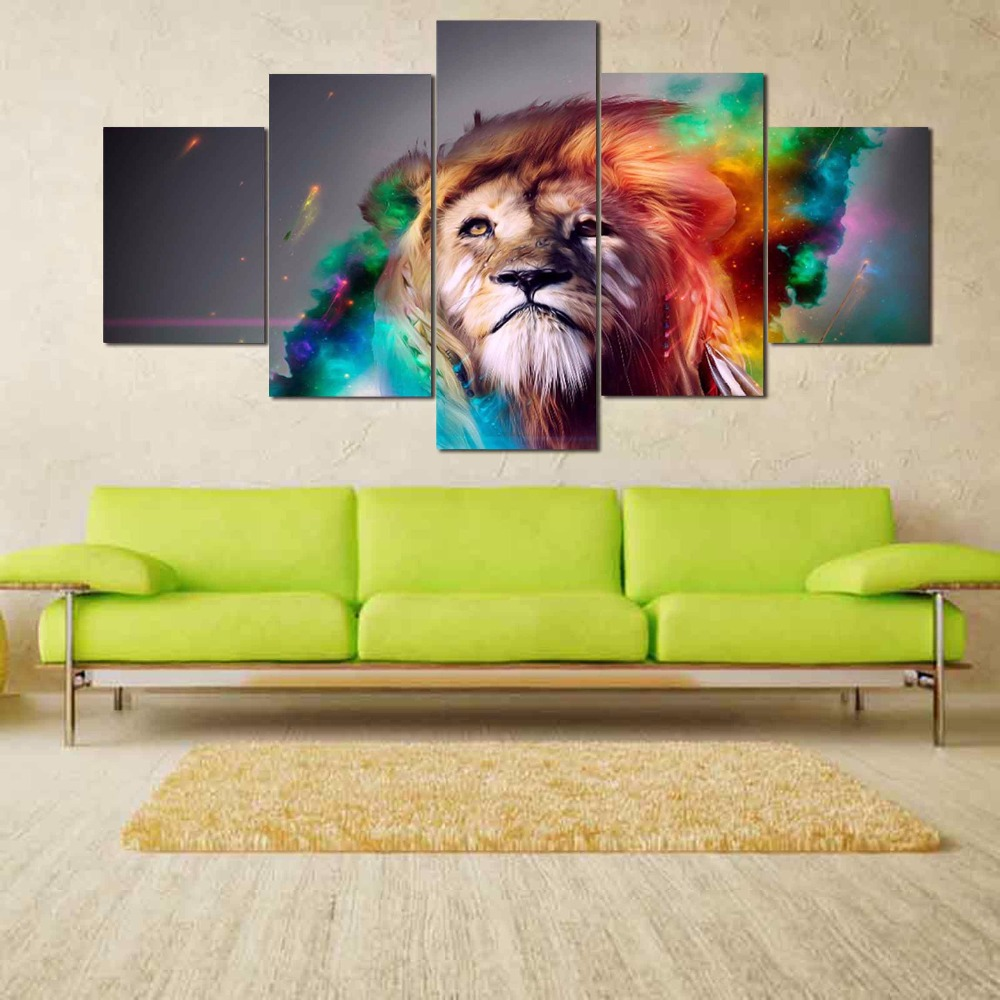 wall art painting colour lion animal canvas prints living room for home decor framed 5 pieces. Black Bedroom Furniture Sets. Home Design Ideas