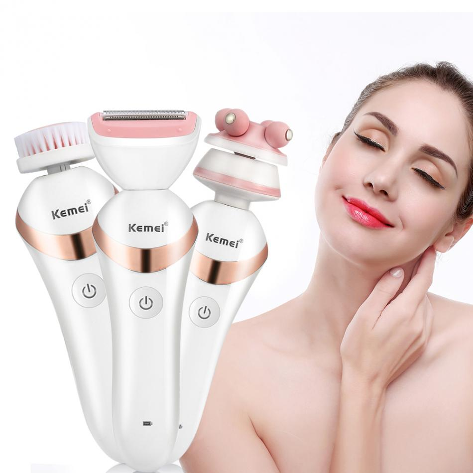 3in 1 Electric Rechargeable Cleasing Brush Massager Epilator Women Hair Removal for Facial Body Armpit Lady Shaver Machine kemei lady rechargeable electric epilator portable hair removal machine wireless wet dry women shaver full body skin use km 1187