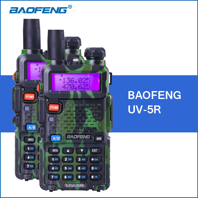 bilder für 2 teile/los baofeng uv-5r camouflage walkie talkie 5 watt vhf uhf dual band uv5r portable walkie-talkies zweiweg cb radio transceiver