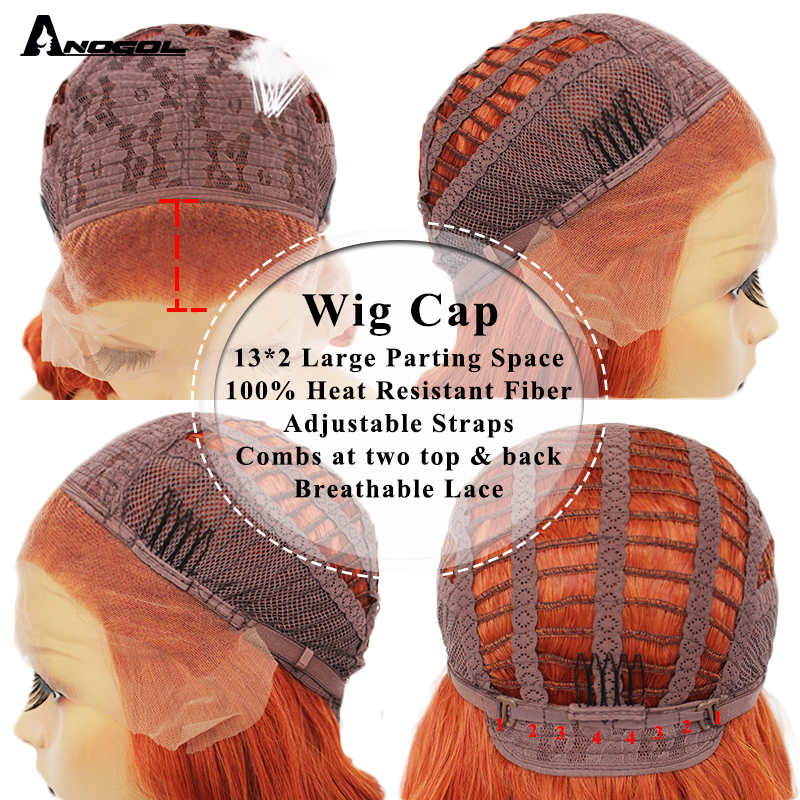Anogol Auburn Orange High Temperature Fiber 360 Frontal Long Deep Wave Hair Wigs Synthetic Lace Front Wig For Women Free Part