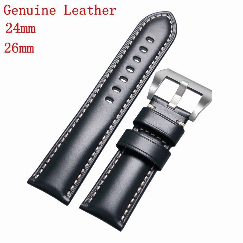 24&26 mm Watch Strap Cowhide Aviator Smooth Pin Buckle Italian Genuine Leather Band Padded Stainless Steel Buckle Replacement все цены