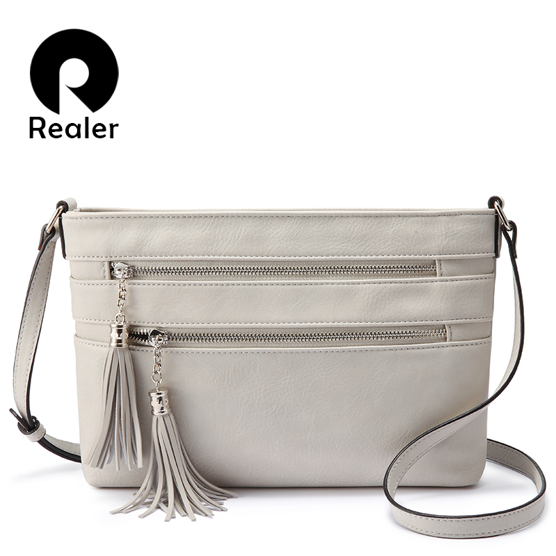 Realer Women Shoulder Bags PU Leather Cross-body Bag For Ladies Large Capacity Fashion Messenger Bag Female High Quality Classic