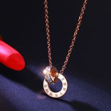 YUNRUO Pure Titanium Steel Jewelry Rose Gold Color Roman Number Crystal Pendant Necklace Birthday Gift For Woman/Girl Wholesale