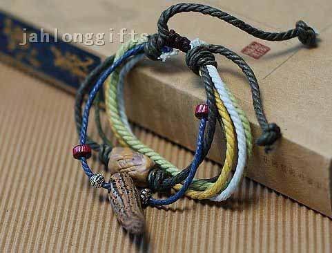 Wholesale Wax String Bracelet Jewerly w/ Volcanized Rock Pendant Chinese Ethnic Mo Suo Minority Style 60pcs/lot Free Shipping