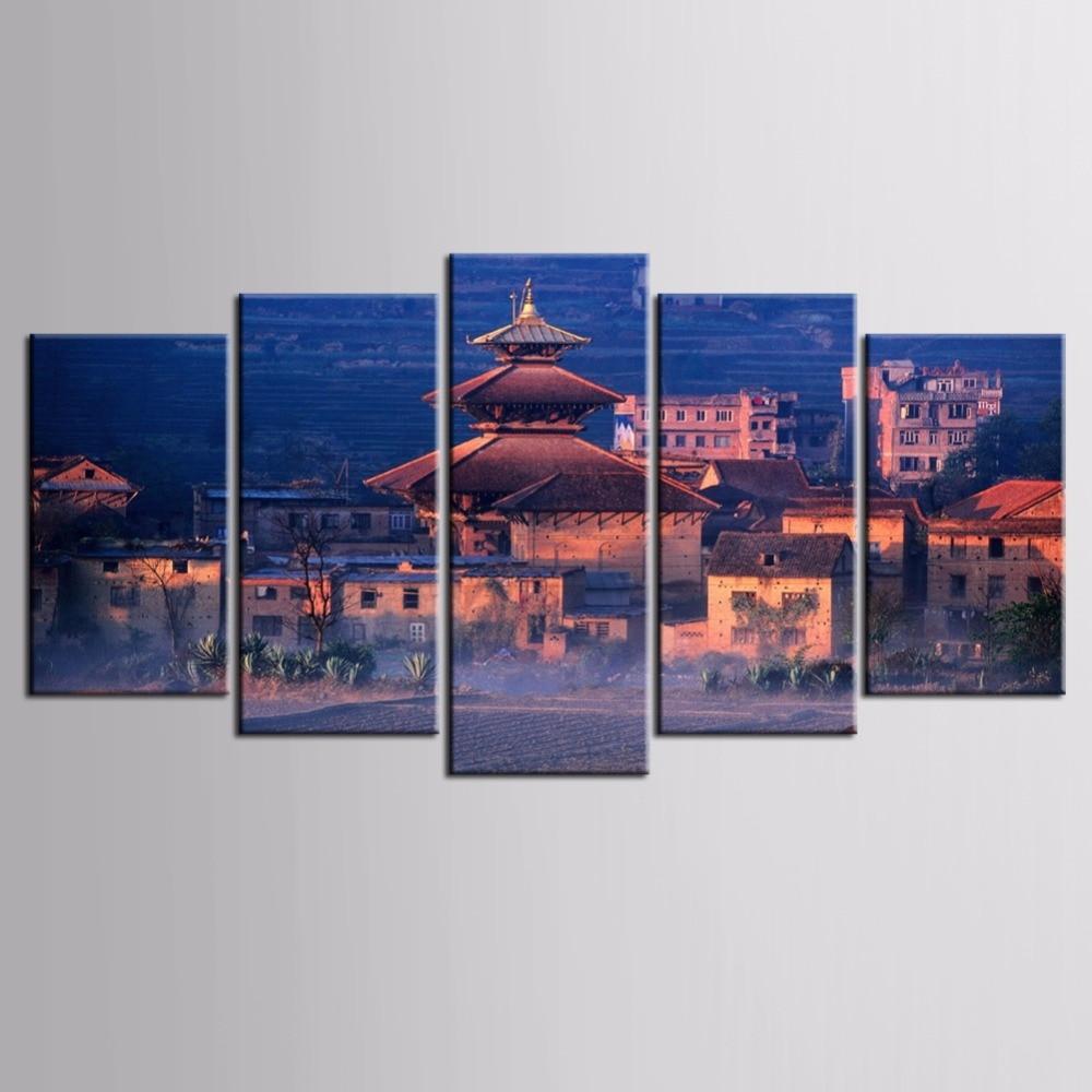 Лучшие продажи 5 шт./компл. пейзаж серии стены искусства для стены украшения дома декоративная живопись на холсте подставил/FJ-MB -c