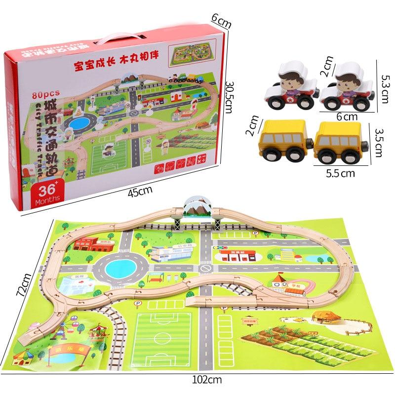 Children's Intelligence Railway Track Assembled Toys Wooden Building Blocks Urban Track Traffic Scene Suit Kid's Education Gift