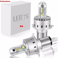 2Pcs All In One H4 LED Car Headlight Kit 7S 80W 12000LM 6500K Headlight Bulbs Automotive