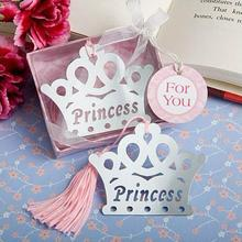 20PCS Silver Prince Princess Crown Bookmarks birthday Christening Bridal Baby Shower Favor christmas gift baby shower souvenir
