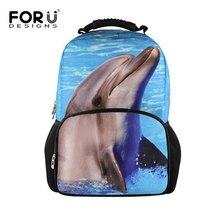 6ff1bf03b28 FORUDESIGNS 3D Dier Mannen Rugzak Dolfijnen Rugzakken Voor Tiener Jongens  Casual Reizen Big Bagpack Mannelijke Mochila
