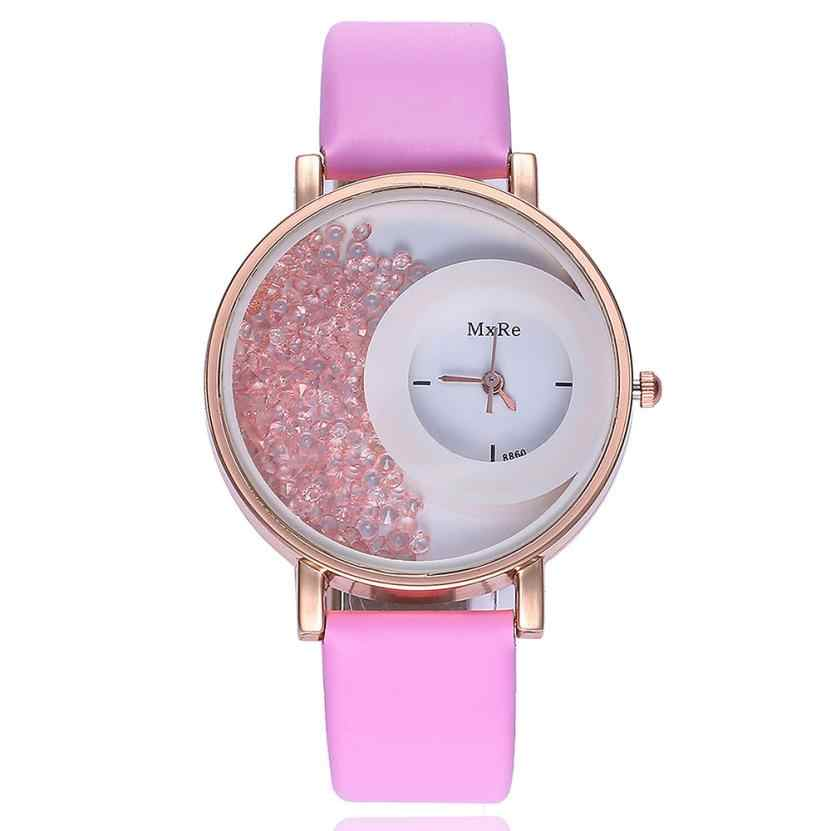 cfadd0ba1 ... Woman Fashion Leather Band Analog Quartz Round Wrist Watch Watches Rose  Gold Girls Gold ladies Hot ...