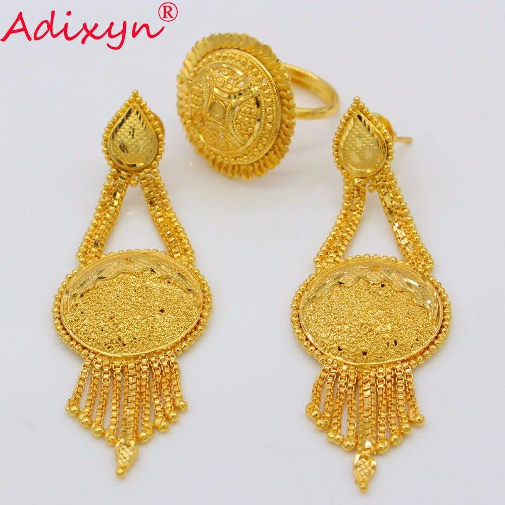 Diamond Rings Sale Dubai: Adixyn Dubai Ring/Earrings Set Jewelry For Women/Girls