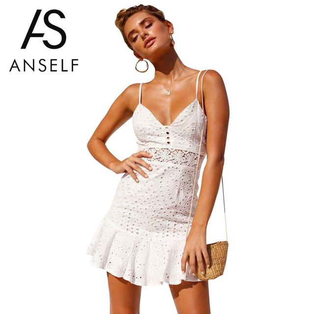 c14136ca252 Anself Women V Neck Dress Sexy Backless Slim Fit Mini Dress Evening Strappy White  Lace Hollow Out Dress Party Clubwear Sundress