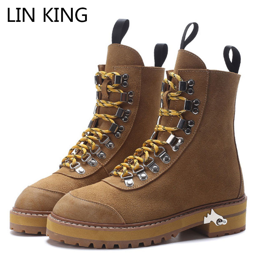 LIN KING Retro Women Genuine Leather High Top Boots Solid Lace Up Ladies Martin Boots Female Work Safety Boots Punk Short Boots 12 slots wood watch display case watches box glass top jewelry storage organizer