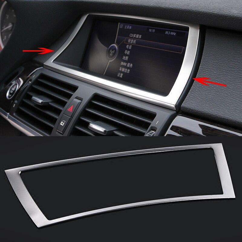 Car styling Interior Dashboard GPS Navigation Control Panel Frame Cover Trim for BMW X5 X6 F15 F16 E70 E71 Accessories удар упорный проведение cover чехол для 6 дюймов gps спутниковый навигатор