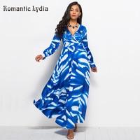 Floral V Neck Maxi Dress 2018 Autumn Women Blue Dresses Long Sleeve Ankle Length Vintage Party Dresses