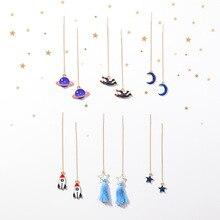 2018 New Creative Space Series Moon Star Saturn Pendant Ear Line Long Earrings For Girl Fashion Accessories Cute Drop Brincos