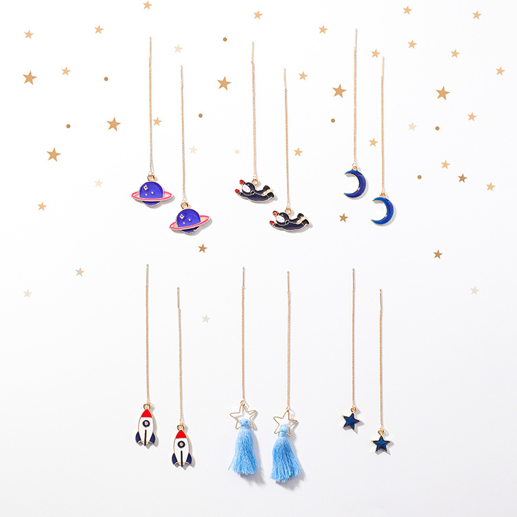 2018 New Creative Space Series Moon Star Saturn Pendant Ear Line Long Earrings For Girl  ...