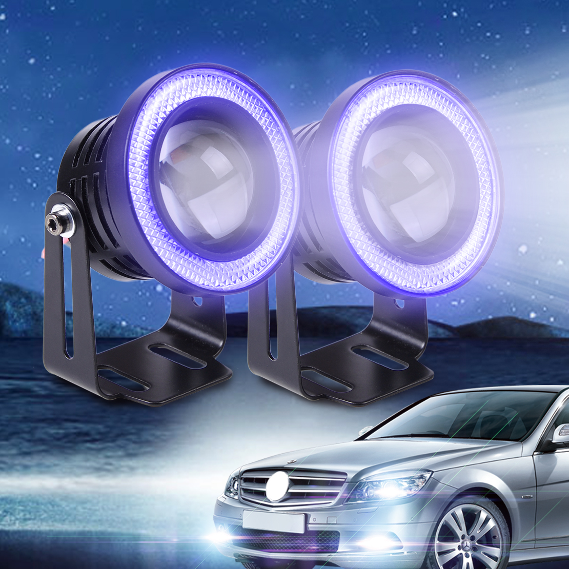 DWCX 2pcs 2.5 10W White LED Projector Fog Lens Driving Light with Blue LED Angel Eye Halo Ring For Ford BMW Kia VW Audi Honda double light lens angel eye projector h4 h7 two ray lens blue green [qp378 bg]